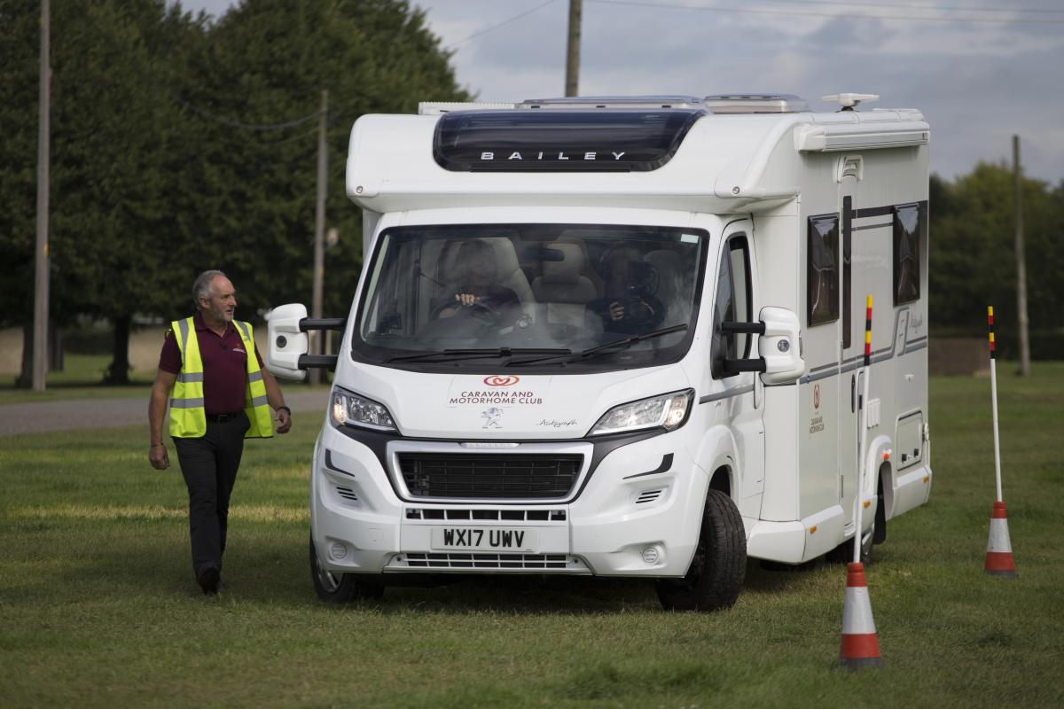 Visitors test out motorhome manoeuvring